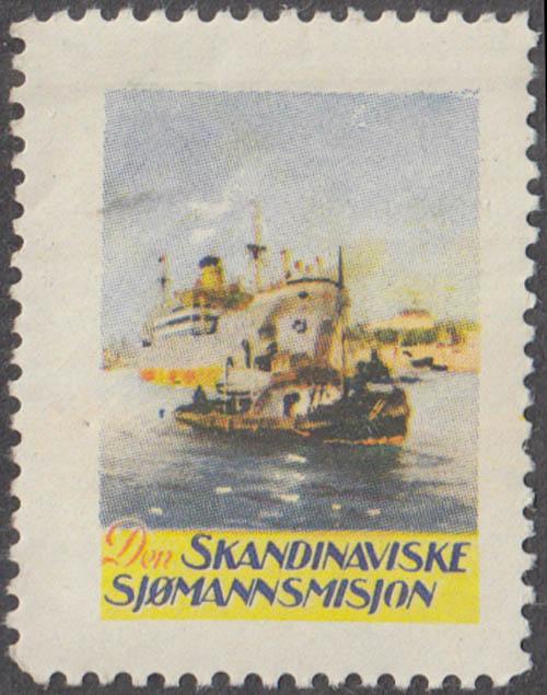 Den Skandinaviske Sjomannmisjon cinderella stamp Norway freighter & tug