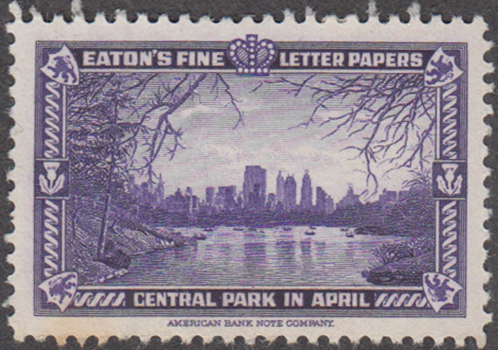 Eaton's Fine Writing Papers Central Park in April NYC cinderella stamp 1930s