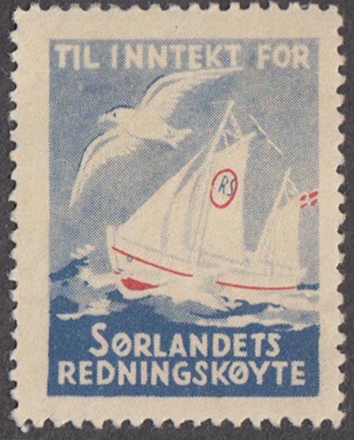Til Innekt for Sorlandets Redningskoyte cinderella stamp Norway rescue boat