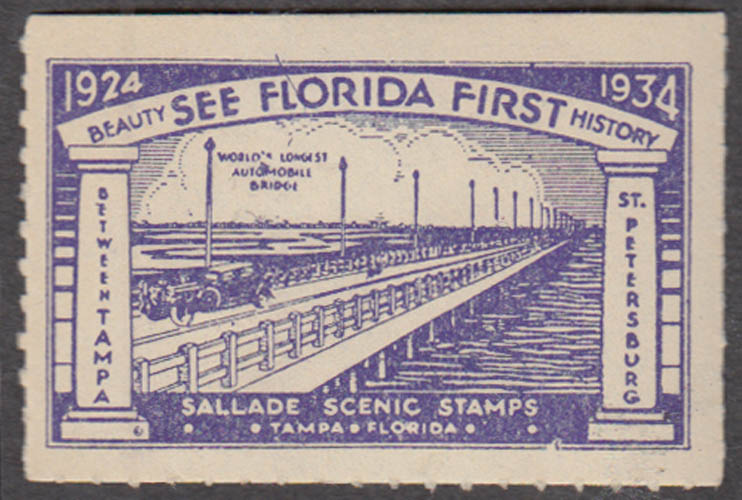 See Florida First St Petersburg Bridge cinderella stamp 1934