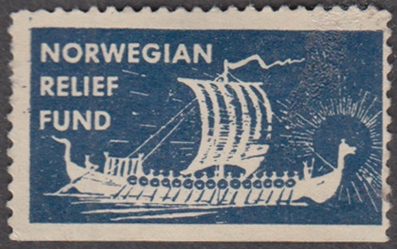 Norwegian Relief Fund cinderella stamp Viking Long Ship ca 1946