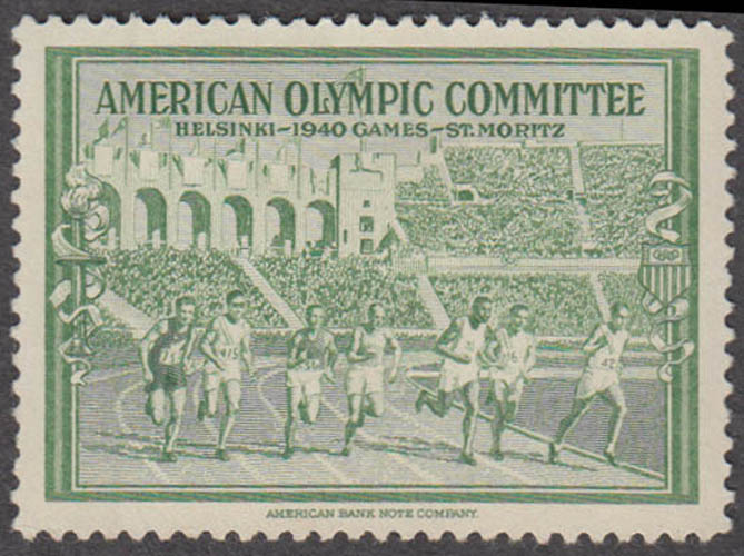 American Olympic Committee 1940 Helsinki cinderella stamp green