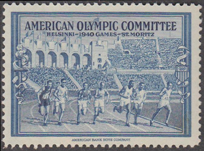 American Olympic Committee 1940 Helsinki cinderella stamp blue