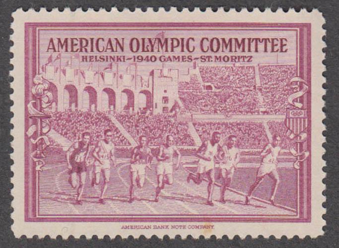 American Olympic Committee 1940 Helsinki cinderella stamp carmine