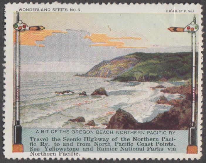 Northern Pacific RR Wonder Series #6 Oregon Coast cinderella stamp