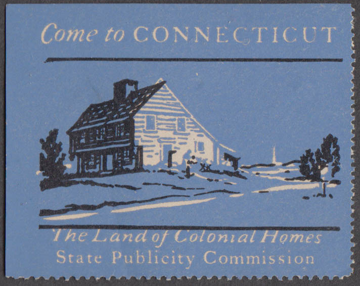 Come to Connecticut cinderella stamp Land of Historic Homes