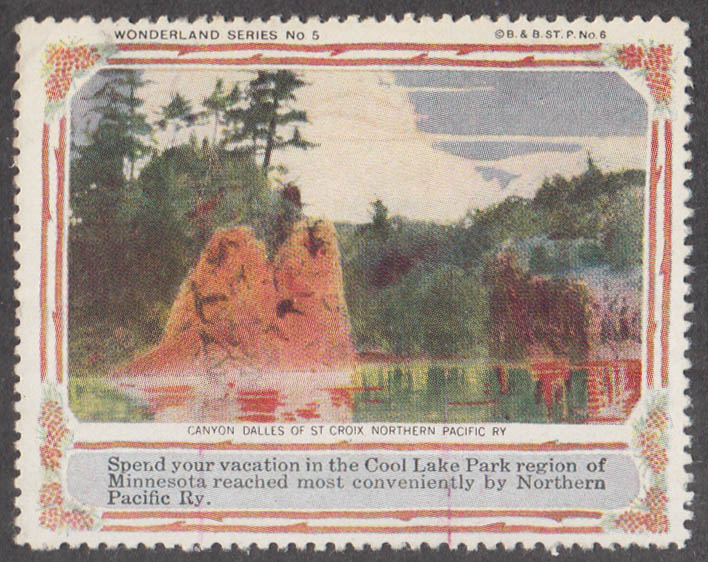 Northern Pacific RR Wonder Series #5 Canyon Dalles St Croix cinderella stamp