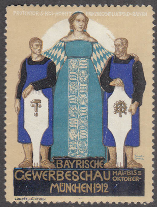 German Bavarian Trade Show cinderella stamp 1912 Bayrische Gewerbeschau