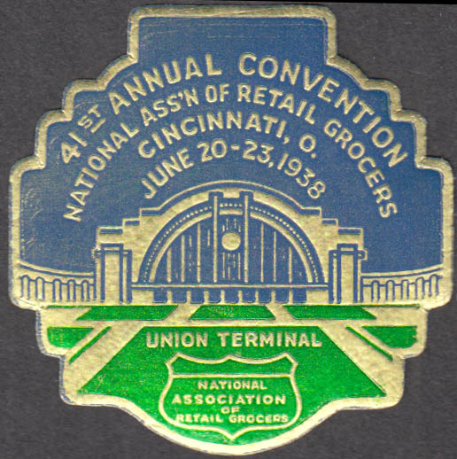 National Ass'n Retail Grocers Convention sticker Cincinnati 1938 Union Station