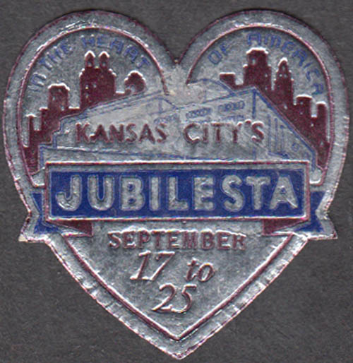 Kansas City Jubilesta In the Heart of America embossed sticker 1936