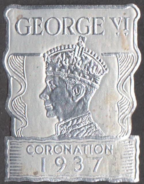 King George VI Coronation embossed silver foil sticker 1937