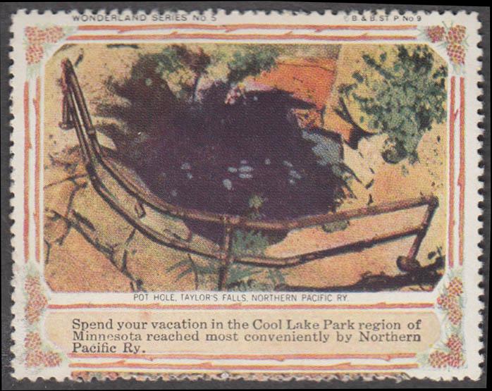 Northern Pacific RR Pot Hole Taylor's Falls Wonder Series #5 cinderella stamp