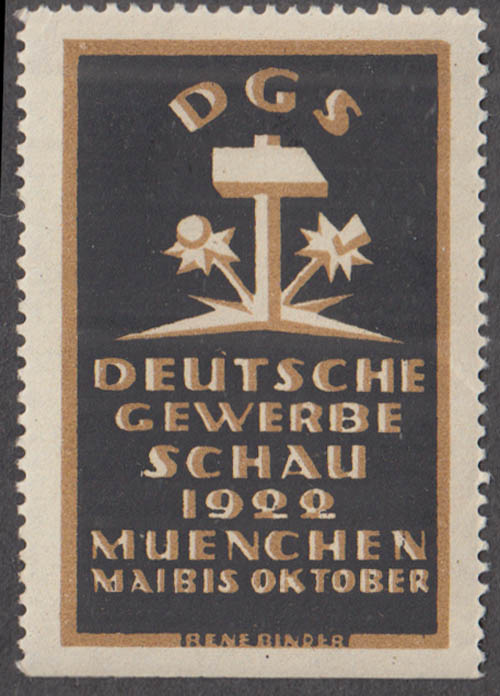 Deutsche Gewerbe Schau Munich 1922 German Trade Show cinderella stamp