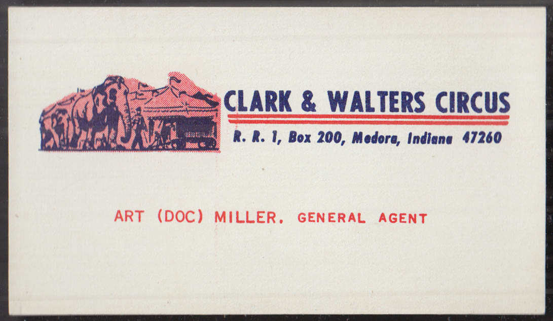 Clark & Walters Circus Medora IN agent Art Doc Miller business card 1960s