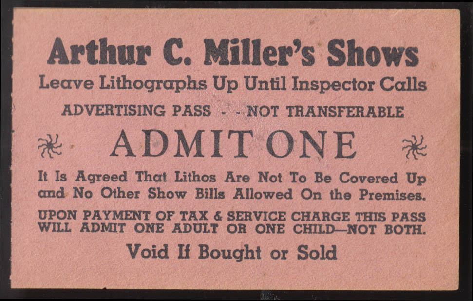 Arthur C Miller's Shows circus advertising pass ca 1930s