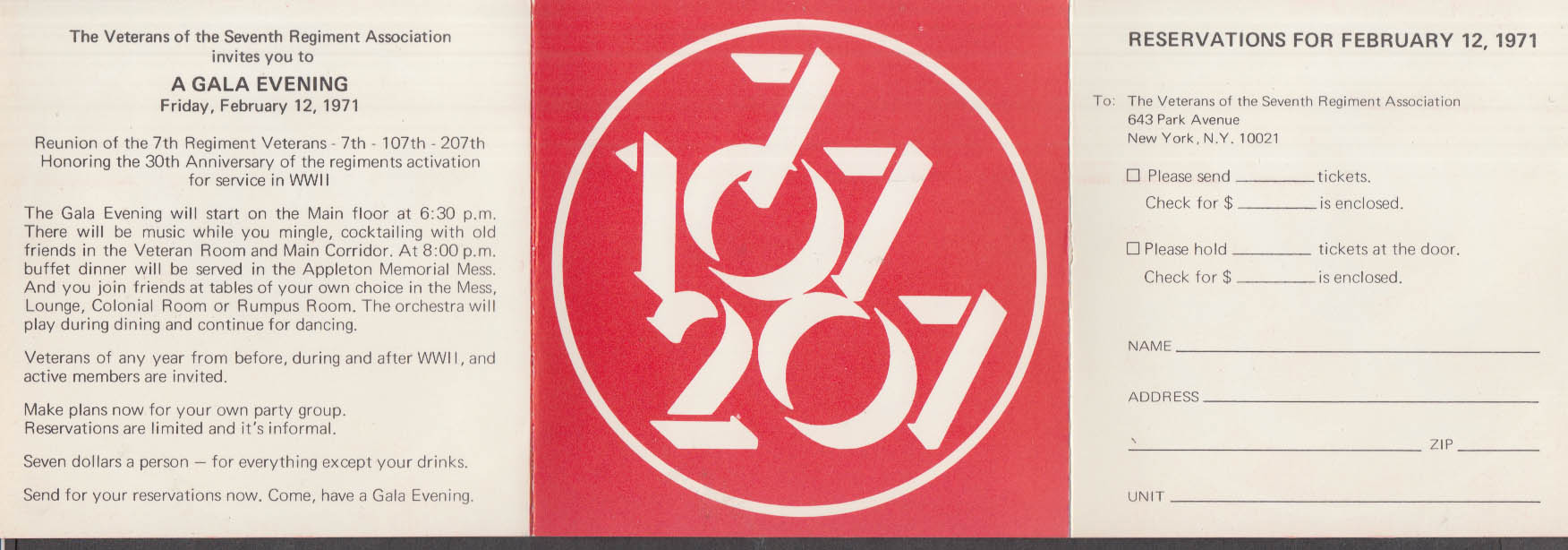 7th Regiment Veterans 30th Reunion Invitation folder 1971 107th 207th