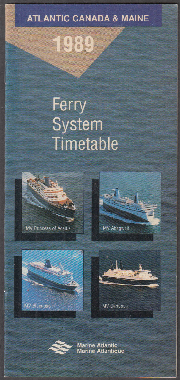 Atlantic Canada & Maine Ferry System Timetable 1989 Maritime Provinces