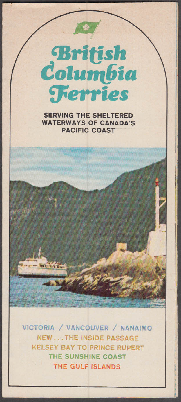 British Columbia Ferries Brochure Victoria Vancouver Nanaimo 1967