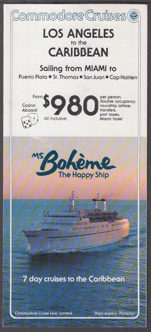 Commodore Cruises M S Boheme Caribbean Cruises folder 1982