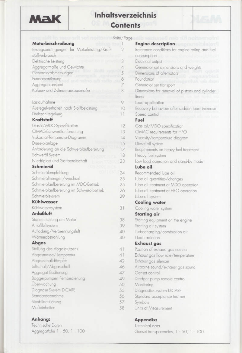 Krupp MaK Project Guide M20 Marine Generating Sets 1100-1800kVA 1993