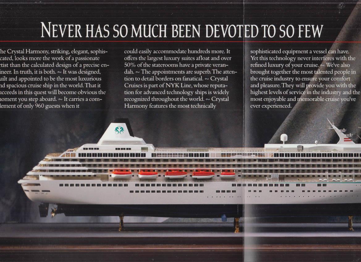 Crystal Cruises M VS Crystal Harmony 1990-1 Alaska Trans-Canal w/ deck plans