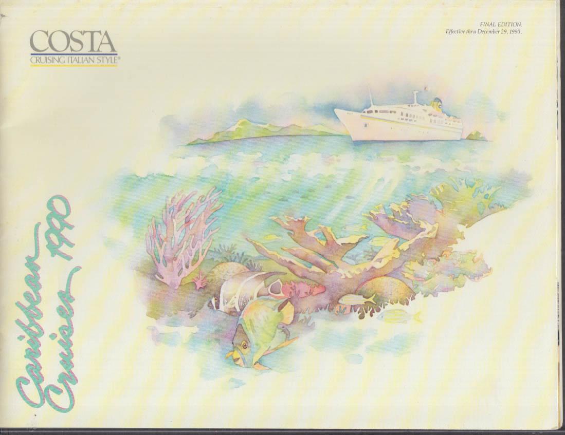 Costa Line Caribbean Cruises 1990 brochure w/ deck plans Carla Costa +