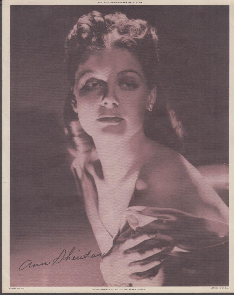 Actress Ann Sheridan Auto-Lite Spark Plugs giveaway print 1930s