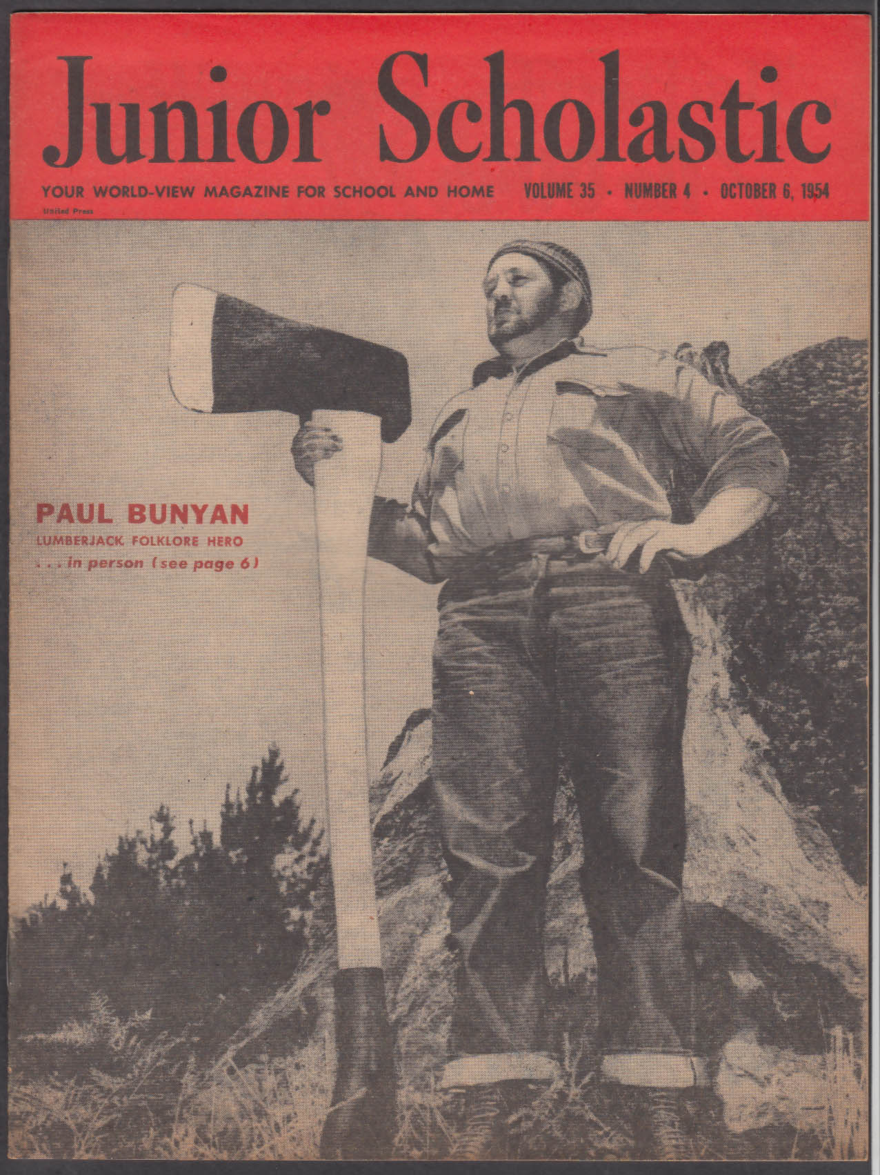 JUNIOR SCHOLASTIC Paul Bunyan; Belgium; Disneyland ABC-TV Show + 10/6 1954