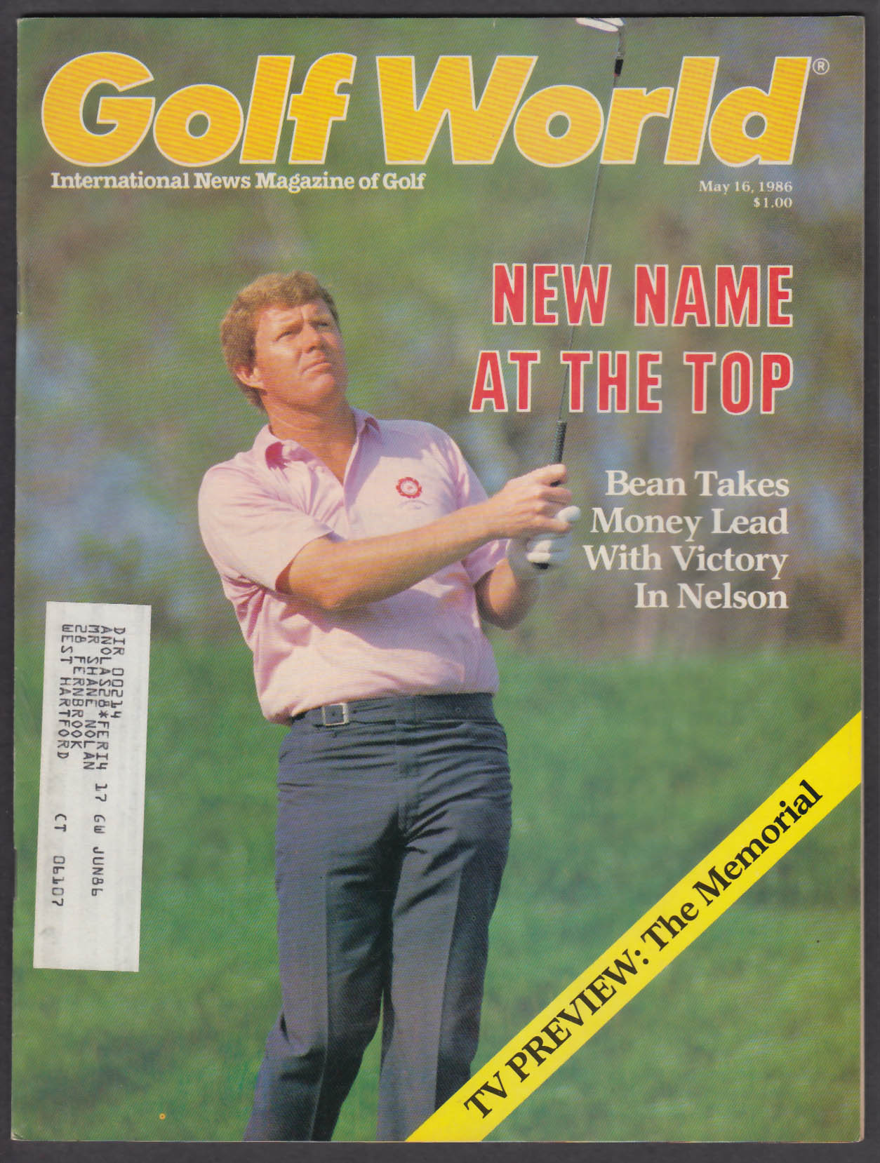 GOLF WORLD Andy Bean Phil Rodgers Jack Nicklaus + 5/16 1986