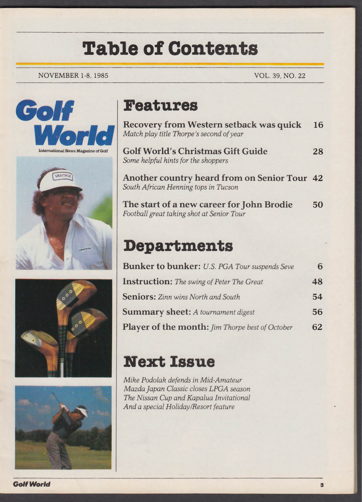 GOLF WORLD Jim Thorpe John Brodie Peter Thomson + 11/8 1985