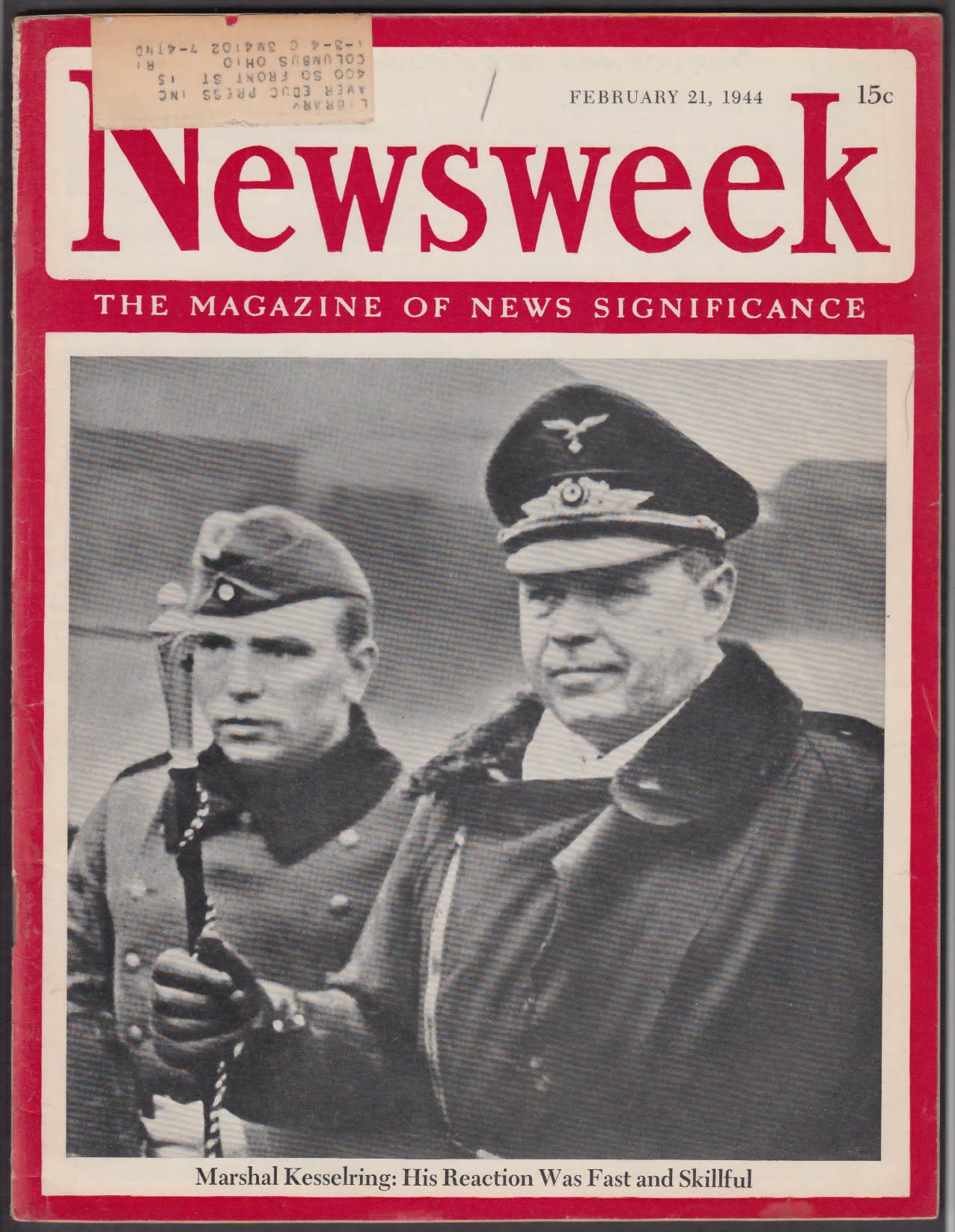 NEWSWEEK Kesselring Anzio Solomons Leningrad Finland Korneichuk + 2/21 1944
