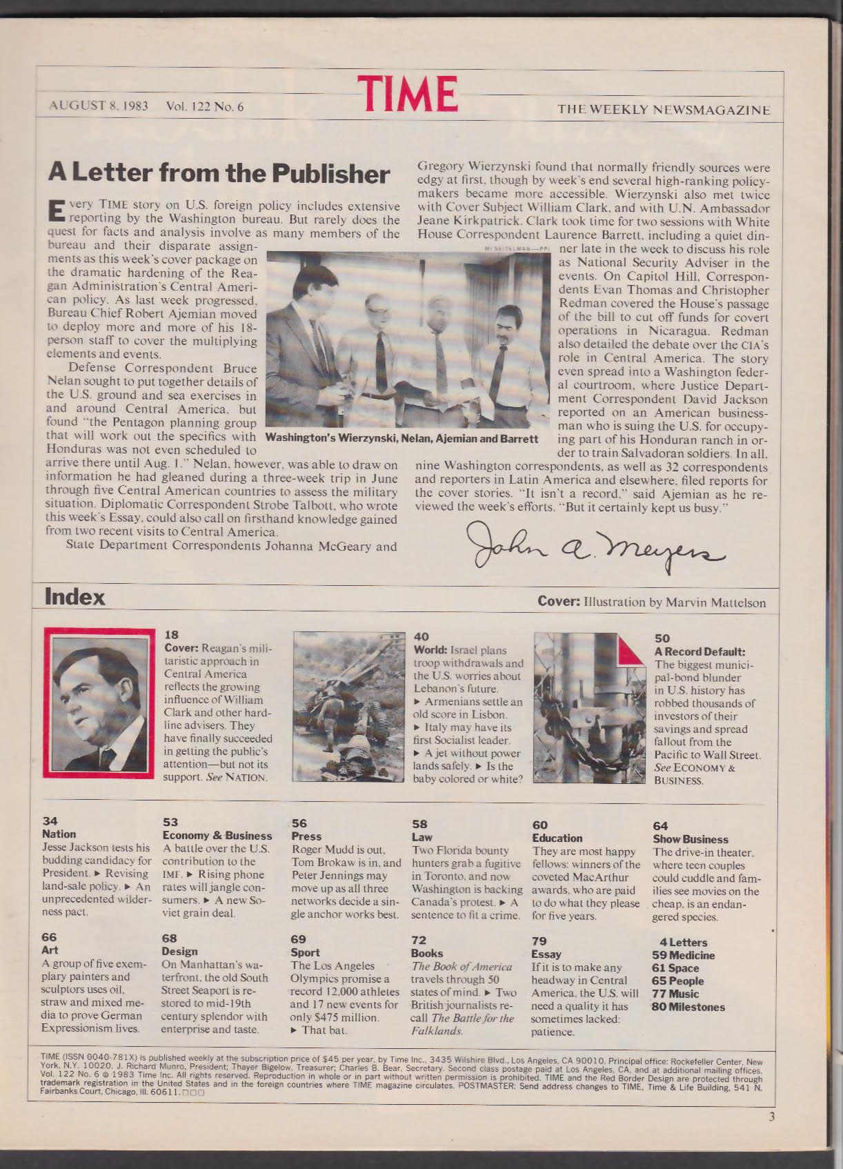 TIME William P Clark Ronald Reagan Jesse Jackson 8/8 1983