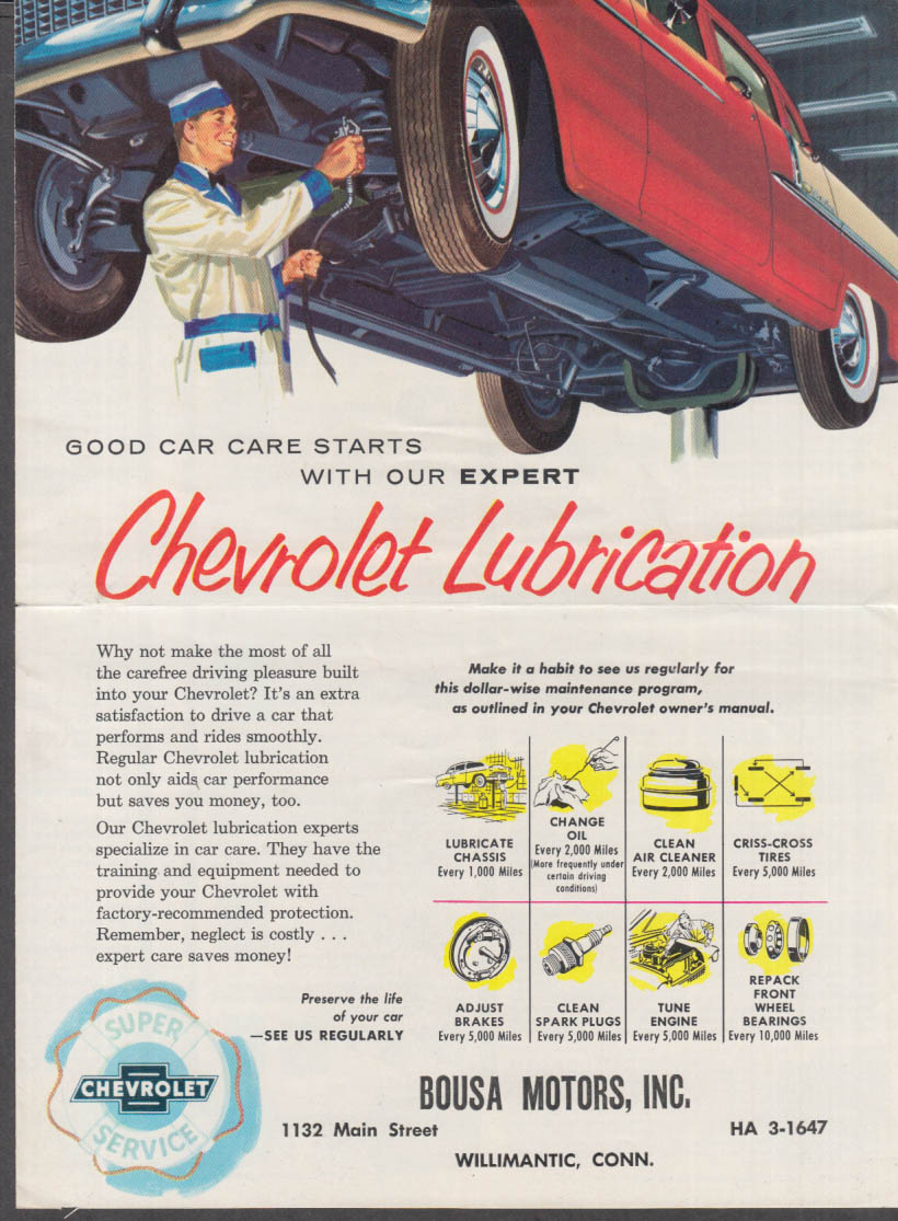 1955 1954 Chevrolet Lubrication Mailer Electricity In The Home Centerspread