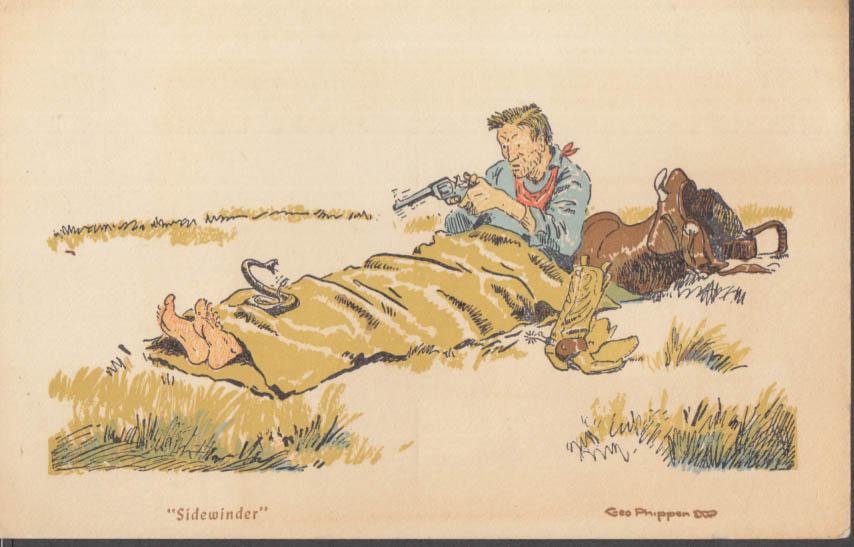 """""""Sidewinder"""" rattlesnake George Phippen joke postcard cowboy sleeping bag 1950s"""