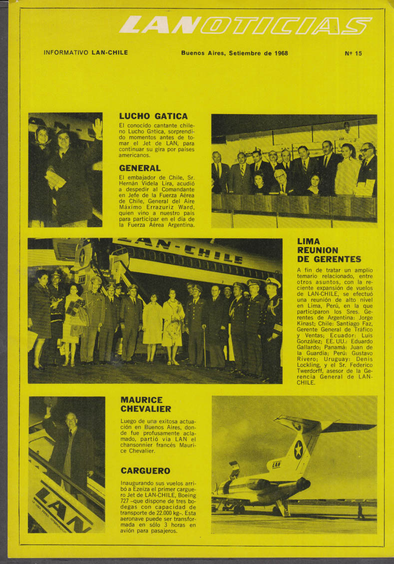 LAN-Chile Airlines LANOTICIAS Information Sheet #15 9 1968 Maurice Chevalier