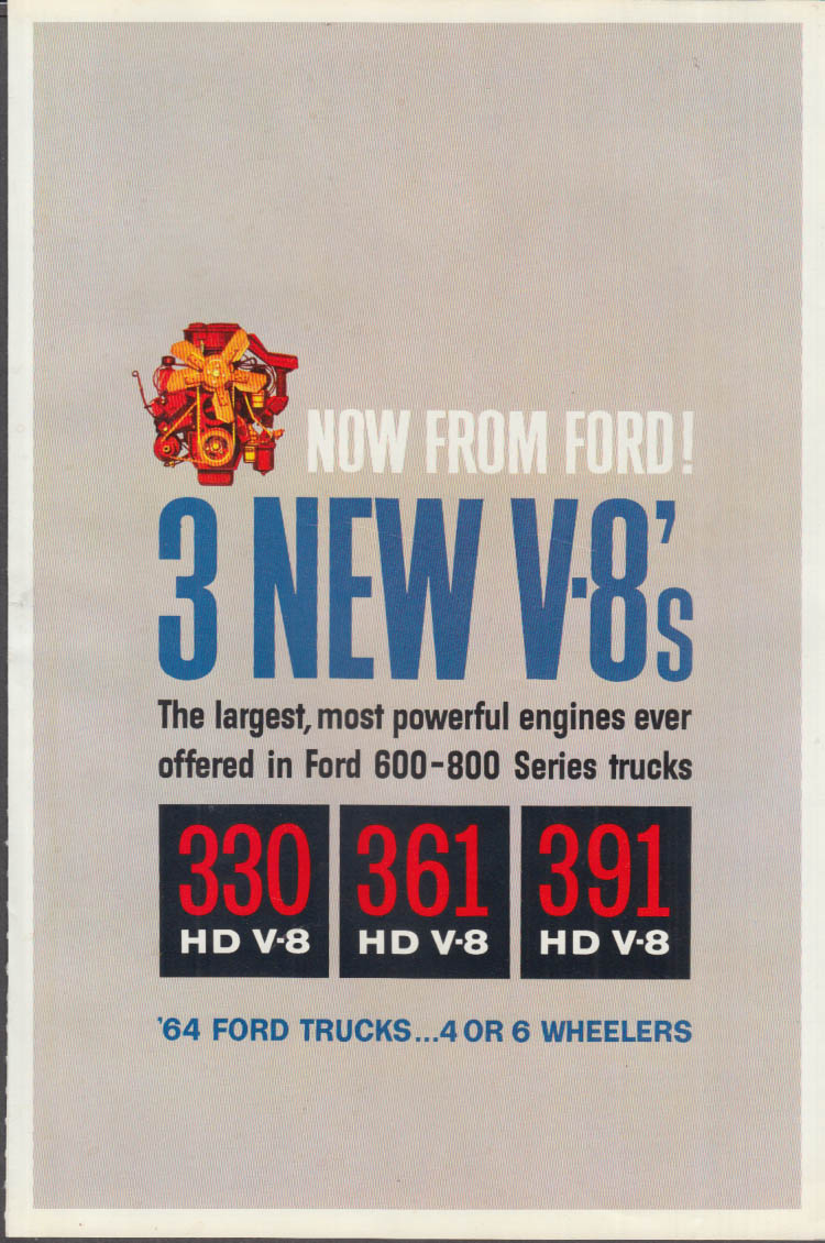 1964 Ford F-600-800 Trucks: 3 New V-8s 330hp 361hp 391hp ad insert