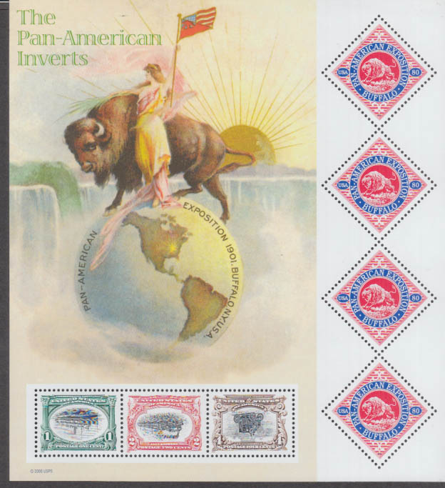 #3505 2001 Pan American Inverts & Buffalo 1901-2001 postage stamp sheet