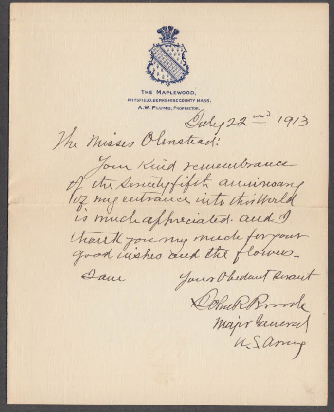 Union & Spanish War Major General John Rutter Brooke ALS re: 75th Birthday 1913