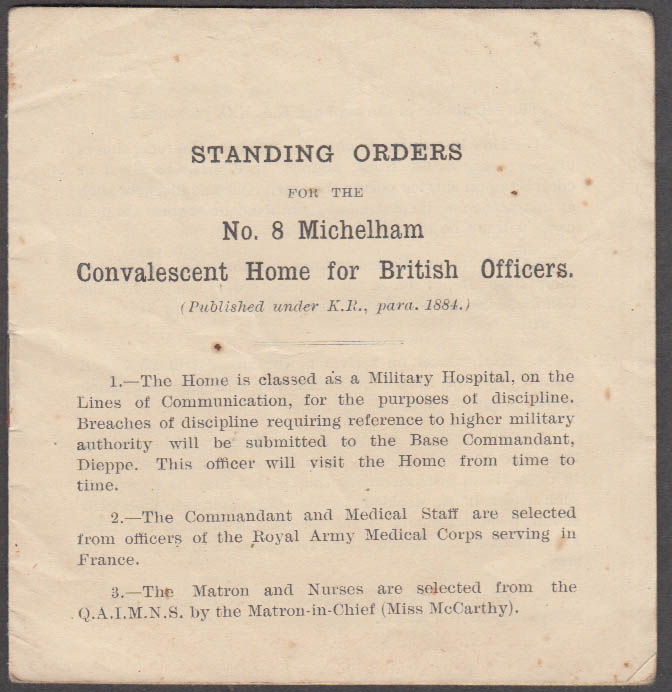 Standing Orders #8 Michelham Convalescent Home for British Soldiers booklet 1917