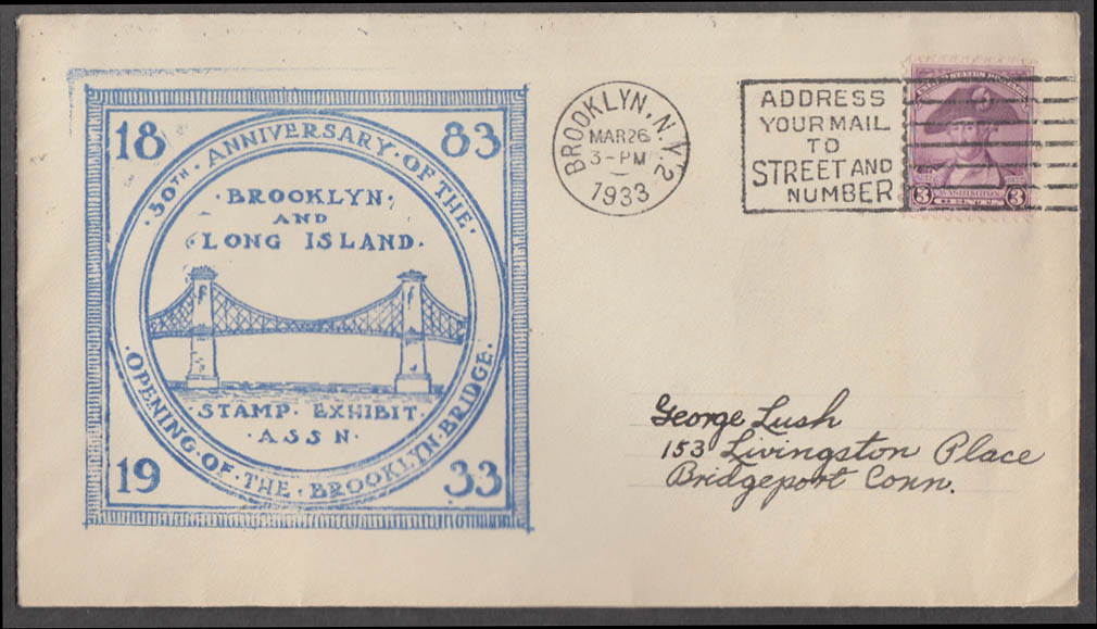 50th Anniversary Brooklyn Bridge postal cachet cover 1933 Stamp Exhibit