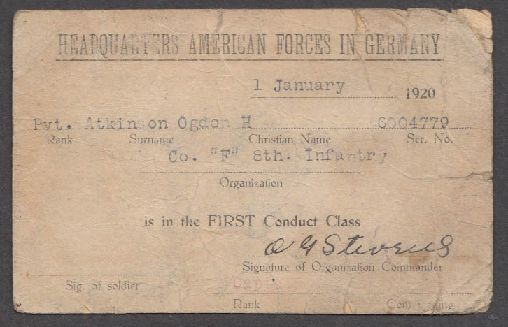 HQ American Forces Germany 1st Conduct Class ID card Co F 8th Infantry 1920