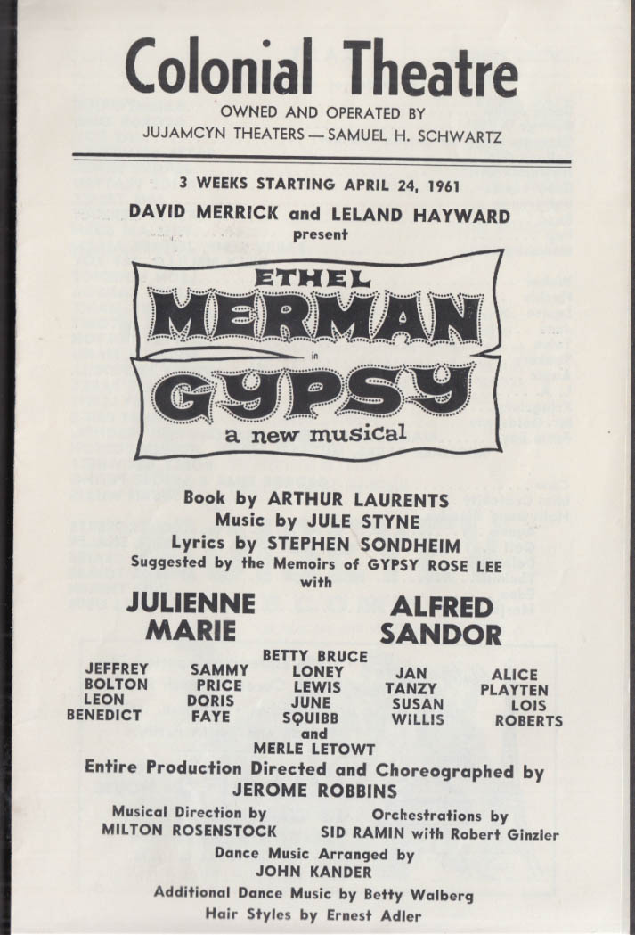 Ethel Merman in Gypsy program Colonial Theatre Boston MA 1960s