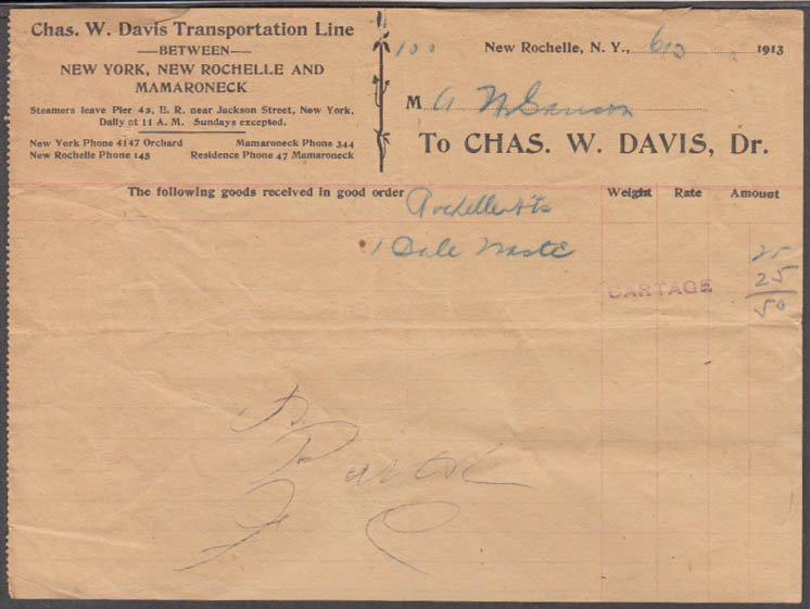 Chas W Davis Transportation Steamship Line Receipt 1913 New Rochelle Mamaroneck
