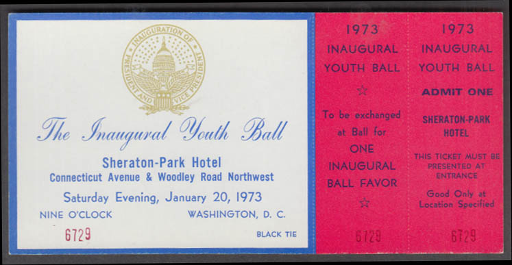 Inaugural Youth Ball ticket Richard M Nixon Sheraton-Park Hotel January 20 1973
