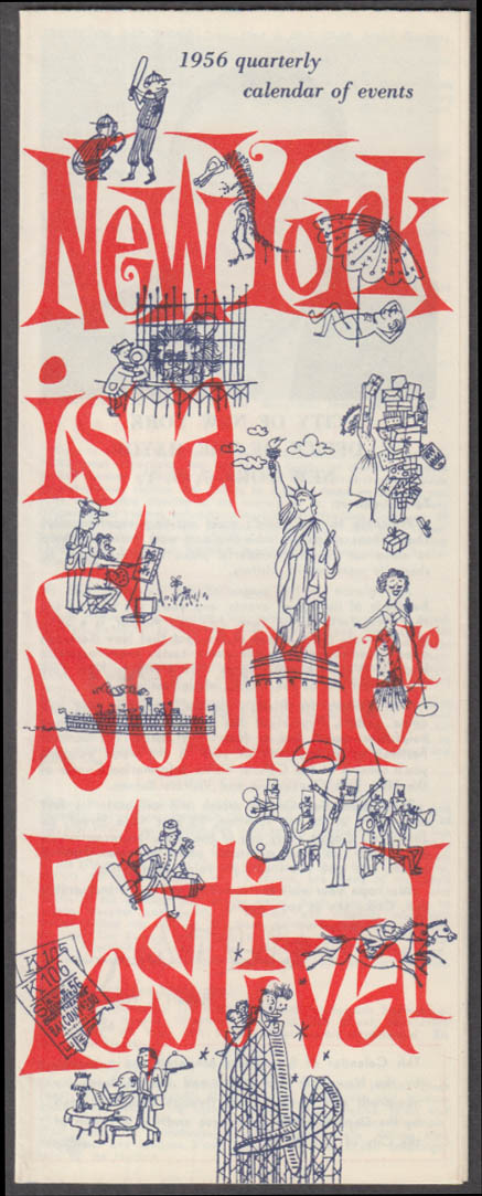 New York is a Summer Festival folder 1956 Giants Dodgers Yankees music art +