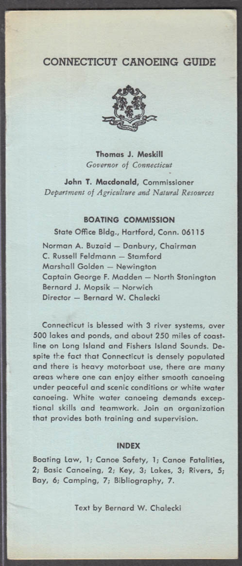 Connecticut Canoeing Guide booklet 1970s laws safety lakes rivers bay +
