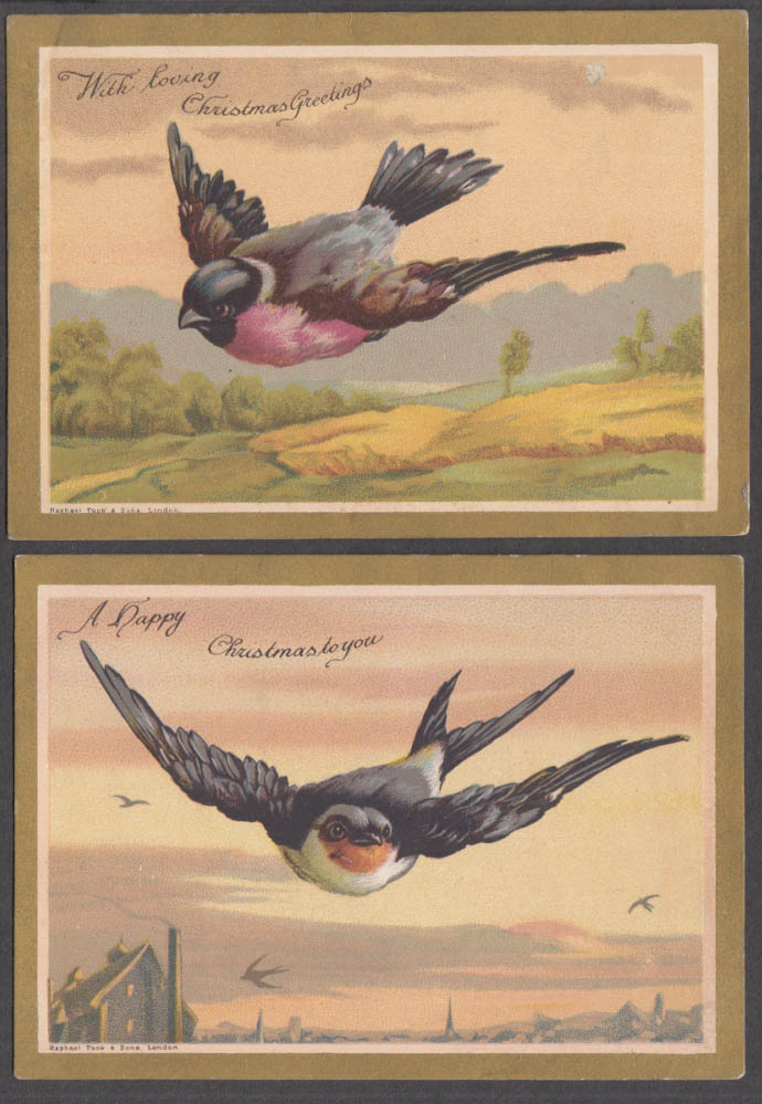 Pair of Raphael Tuck & Sons gilt-edged Christmas cards 1880s Bird theme