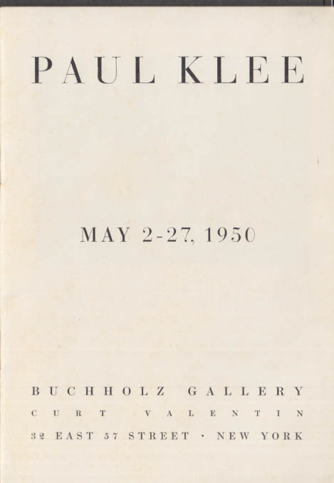 Paul Klee Exhibition Catalog 1950 Buchholz Gallery New York City