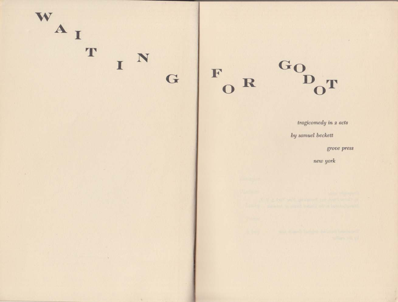 Image for Samuel Beckett: Waiting for Godot: Evergreen 1st Edition 1954 1st issue