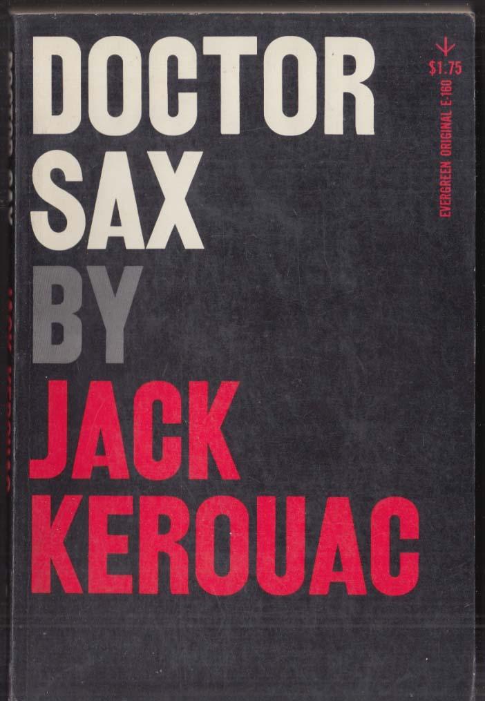 "Jack Kerouac: Doctor Sax: Evergreen E-160 1959 1st ed 5 1/16"" spine lettering"